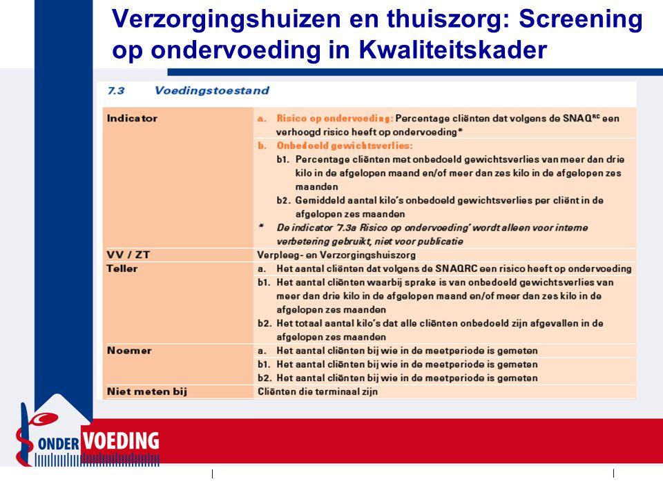 Verzorgingshuizen en thuiszorg: Screening op ondervoeding in Kwaliteitskader