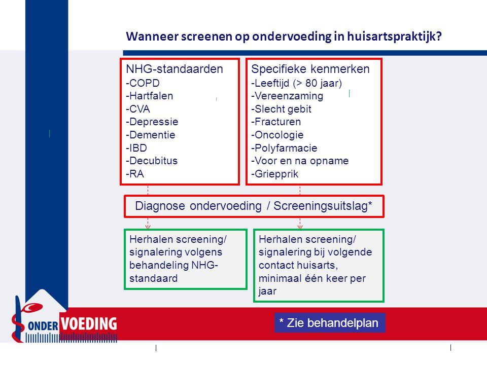NHG-standaarden -COPD -Hartfalen -CVA -Depressie -Dementie -IBD -Decubitus -RA Specifieke kenmerken -Leeftijd (> 80 jaar) -Vereenzaming -Slecht gebit