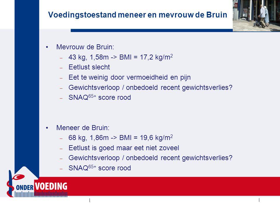 Voedingstoestand meneer en mevrouw de Bruin Mevrouw de Bruin: – 43 kg, 1,58m -> BMI = 17,2 kg/m 2 – Eetlust slecht – Eet te weinig door vermoeidheid e