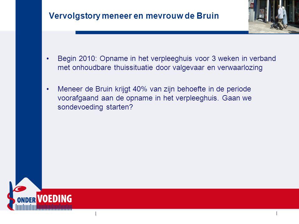 Vervolgstory meneer en mevrouw de Bruin Begin 2010: Opname in het verpleeghuis voor 3 weken in verband met onhoudbare thuissituatie door valgevaar en