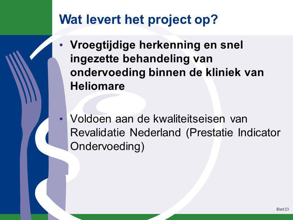 Vroegtijdige herkenning en snel ingezette behandeling van ondervoeding binnen de kliniek van Heliomare Voldoen aan de kwaliteitseisen van Revalidatie