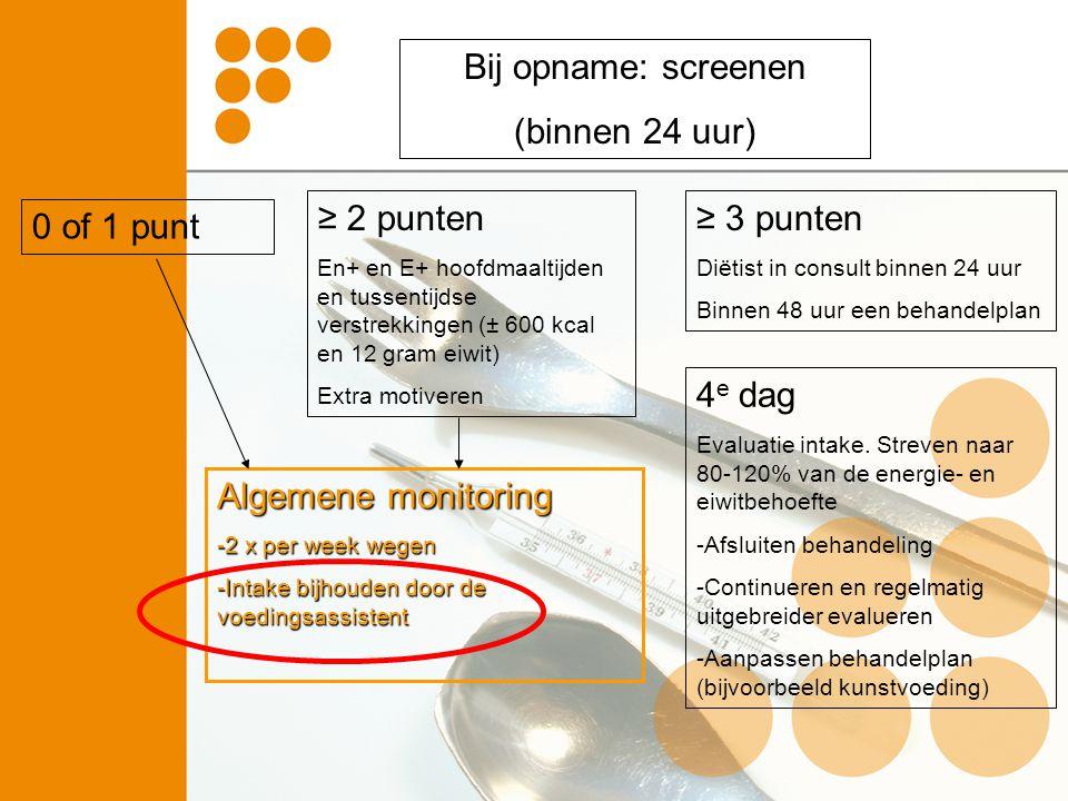 Bij opname: screenen (binnen 24 uur) ≥ 3 punten Diëtist in consult binnen 24 uur Binnen 48 uur een behandelplan ≥ 2 punten En+ en E+ hoofdmaaltijden e