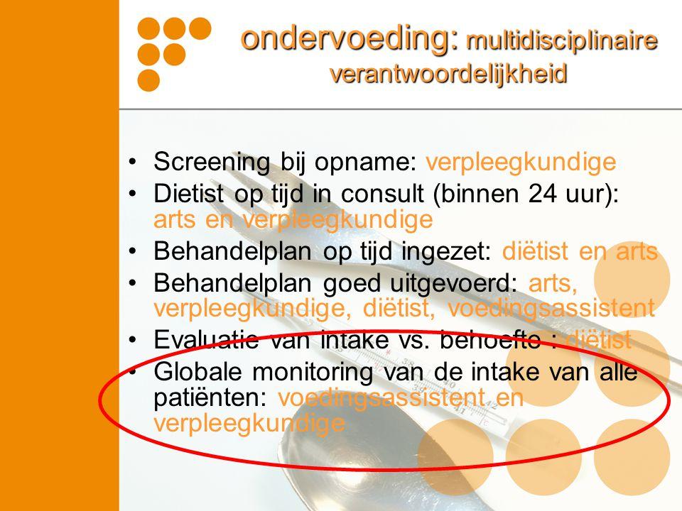 ondervoeding: multidisciplinaire verantwoordelijkheid Screening bij opname: verpleegkundige Dietist op tijd in consult (binnen 24 uur): arts en verple