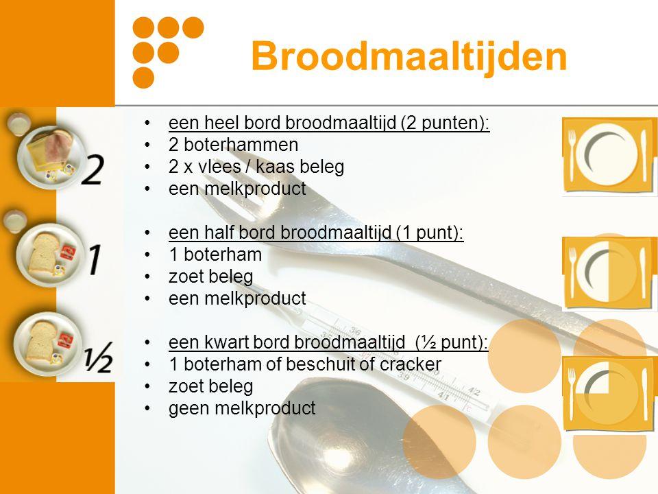 Broodmaaltijden een heel bord broodmaaltijd (2 punten): 2 boterhammen 2 x vlees / kaas beleg een melkproduct een half bord broodmaaltijd (1 punt): 1 b