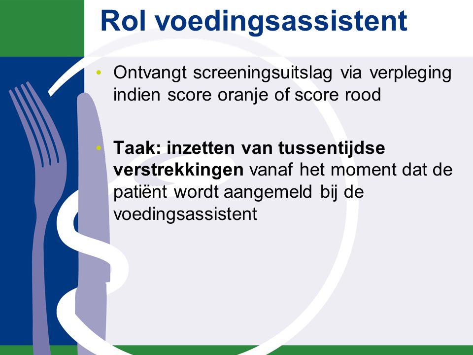 Rol voedingsassistent Ontvangt screeningsuitslag via verpleging indien score oranje of score rood Taak: inzetten van tussentijdse verstrekkingen vanaf het moment dat de patiënt wordt aangemeld bij de voedingsassistent
