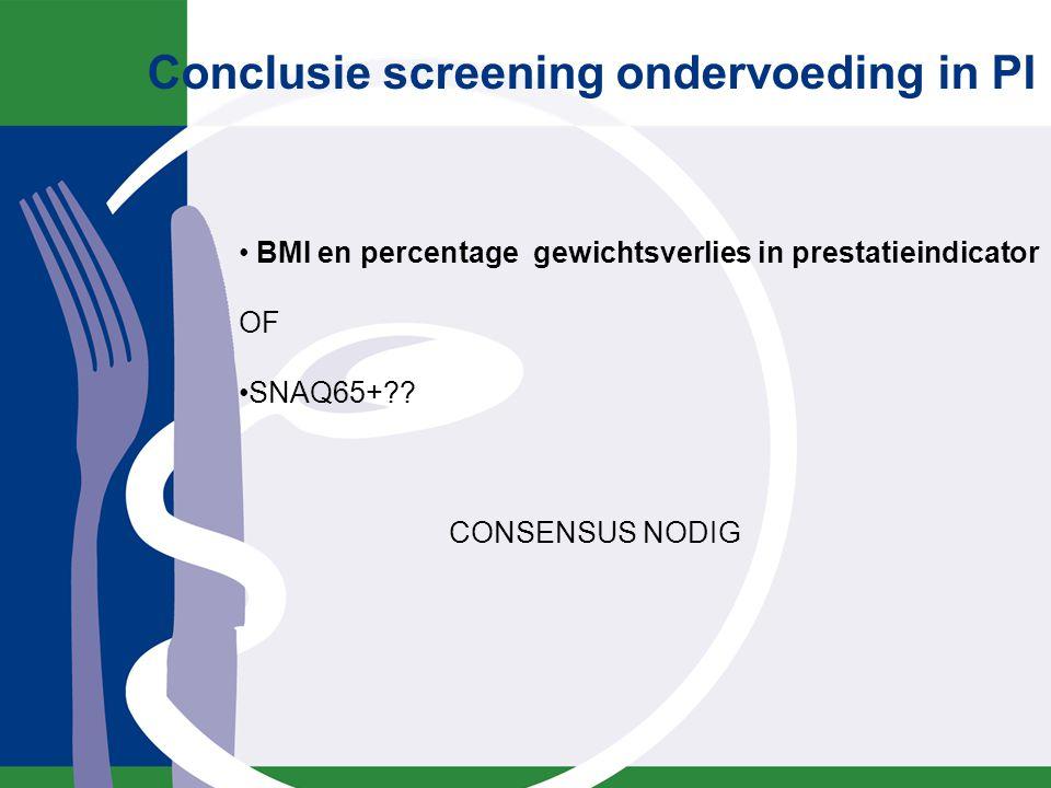 Conclusie screening ondervoeding in PI BMI en percentage gewichtsverlies in prestatieindicator OF SNAQ65+?? CONSENSUS NODIG