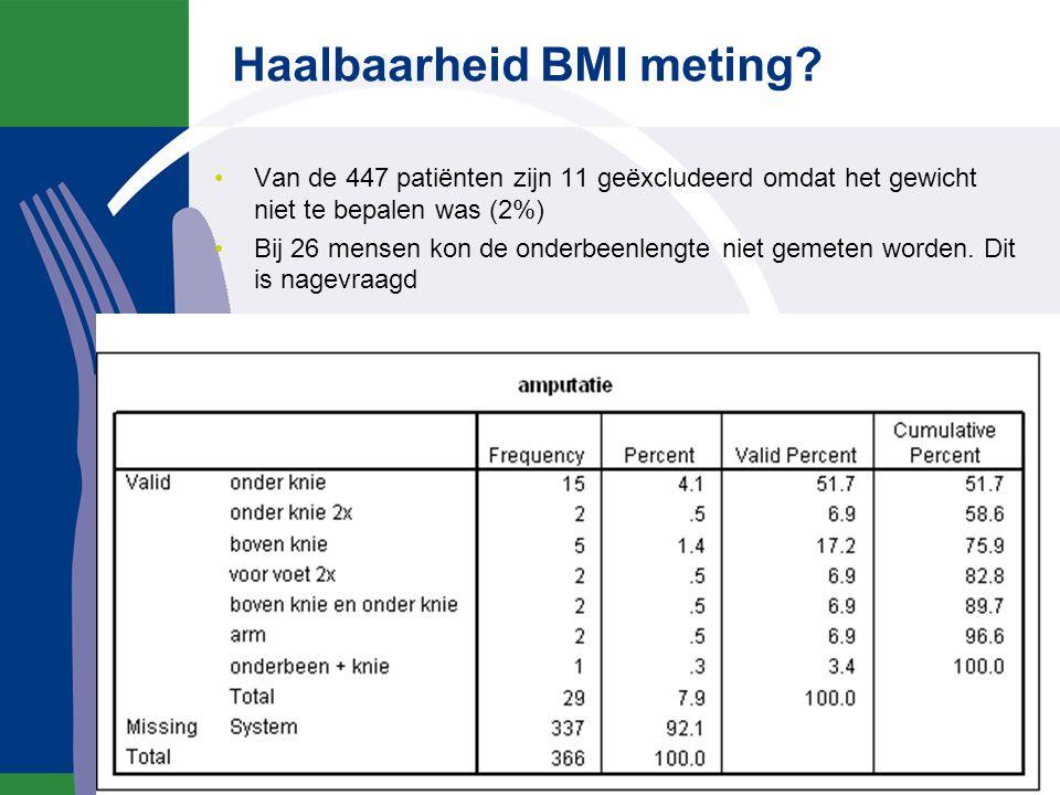 Haalbaarheid BMI meting? Van de 447 patiënten zijn 11 geëxcludeerd omdat het gewicht niet te bepalen was (2%) Bij 26 mensen kon de onderbeenlengte nie
