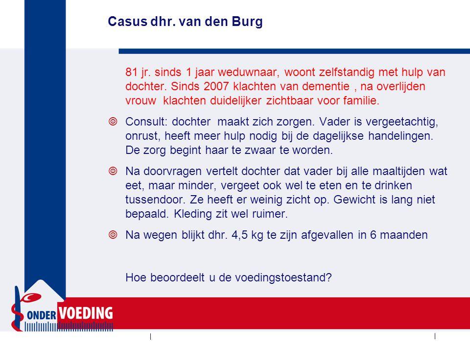 Casus dhr. van den Burg 81 jr. sinds 1 jaar weduwnaar, woont zelfstandig met hulp van dochter. Sinds 2007 klachten van dementie, na overlijden vrouw k