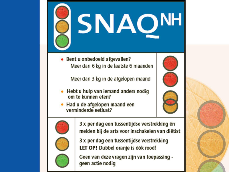 Metingen kruisvalidatie  vragen SNAQ NH  meten lichaamsgewicht  meten lichaamslengte (kniehoogte)  navraag gewichtsbeloop in laatste maand en 6 maanden (60-70% gemeten)