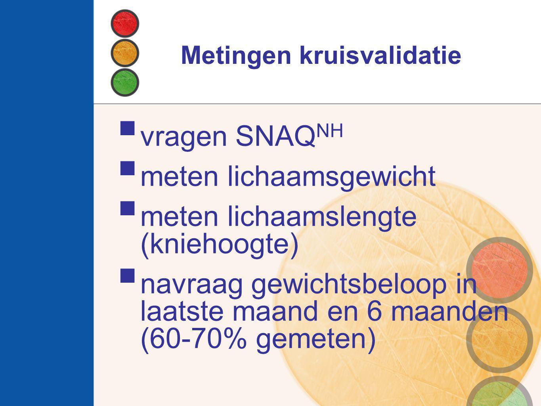 Conclusie  Diagnostische waarde SNAQ NH onvoldoende  Ondervoeding vnl.