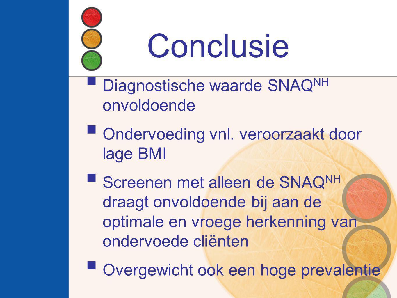 Conclusie  Diagnostische waarde SNAQ NH onvoldoende  Ondervoeding vnl. veroorzaakt door lage BMI  Screenen met alleen de SNAQ NH draagt onvoldoende
