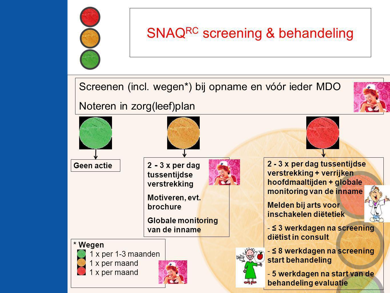 Screenen (incl. wegen*) bij opname en vóór ieder MDO Noteren in zorg(leef)plan 2 - 3 x per dag tussentijdse verstrekking Motiveren, evt. brochure Glob