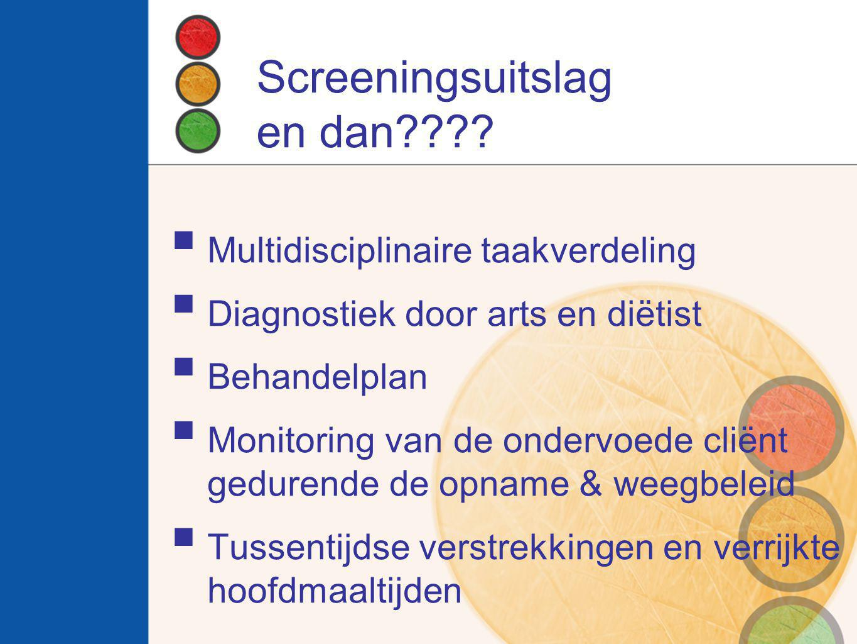 Screeningsuitslag en dan????  Multidisciplinaire taakverdeling  Diagnostiek door arts en diëtist  Behandelplan  Monitoring van de ondervoede cliën