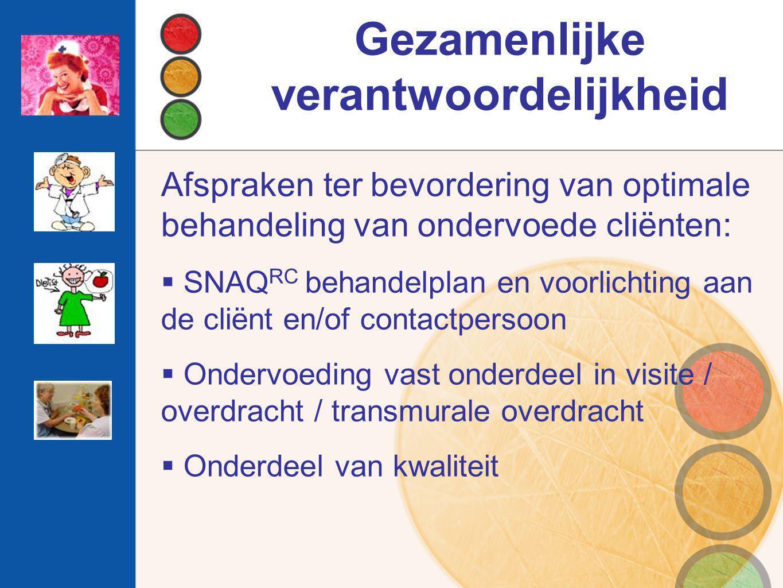 Gezamenlijke verantwoordelijkheid Afspraken ter bevordering van optimale behandeling van ondervoede cliënten:  SNAQ RC behandelplan en voorlichting a