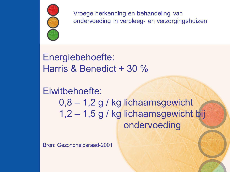 Vroege herkenning en behandeling van ondervoeding in verpleeg- en verzorgingshuizen Energiebehoefte: Harris & Benedict + 30 % Eiwitbehoefte: 0,8 – 1,2