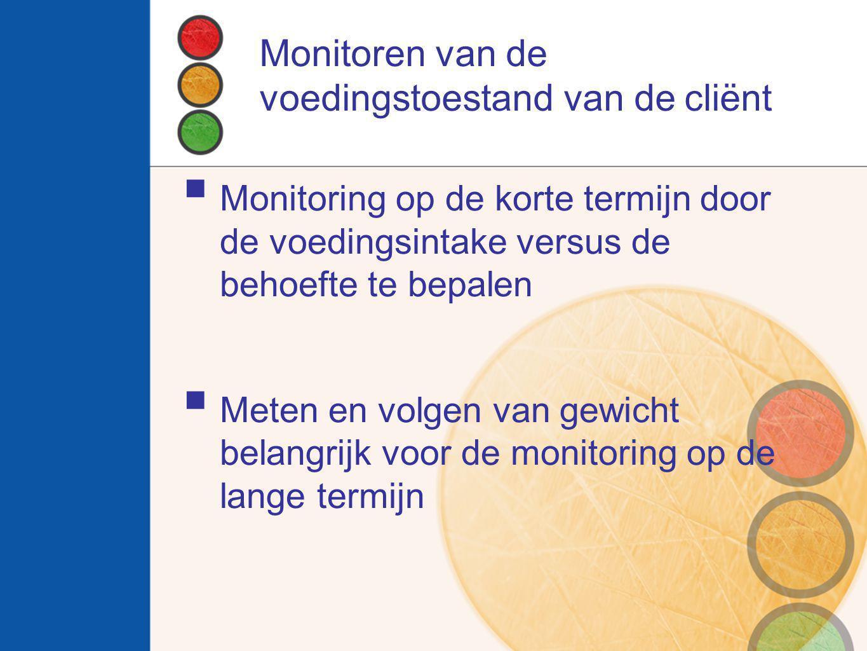 Monitoren van de voedingstoestand van de cliënt  Monitoring op de korte termijn door de voedingsintake versus de behoefte te bepalen  Meten en volge