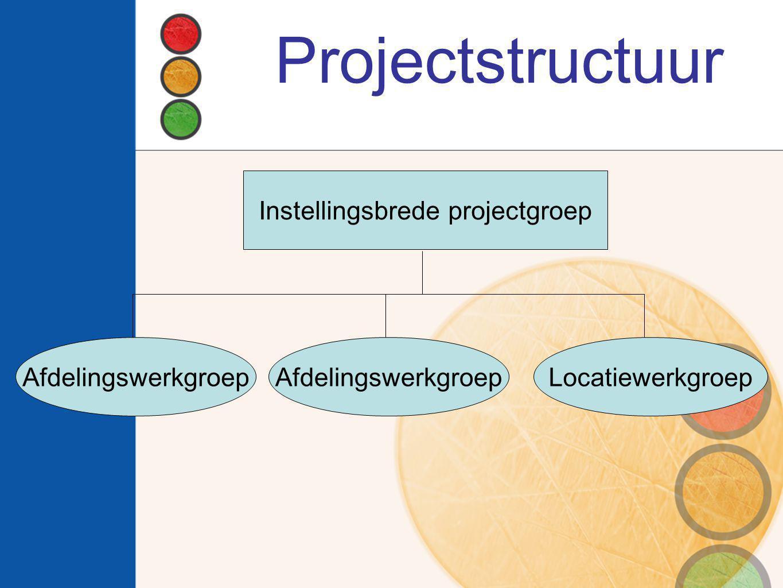 Projectstructuur Instellingsbrede projectgroep Afdelingswerkgroep Locatiewerkgroep