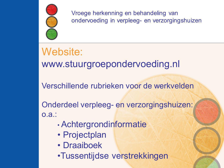 Website: www.stuurgroepondervoeding.nl Verschillende rubrieken voor de werkvelden Onderdeel verpleeg- en verzorgingshuizen: o.a.: Achtergrondinformati