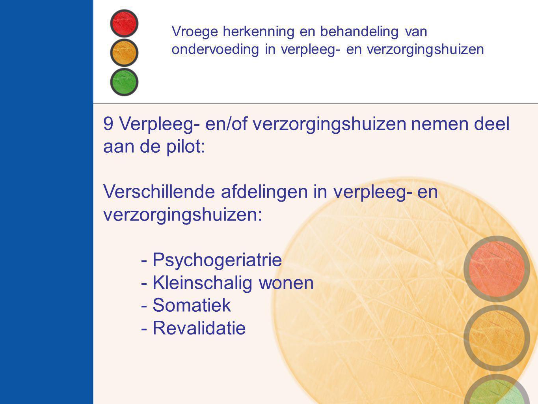 9 Verpleeg- en/of verzorgingshuizen nemen deel aan de pilot: Verschillende afdelingen in verpleeg- en verzorgingshuizen: - Psychogeriatrie - Kleinscha
