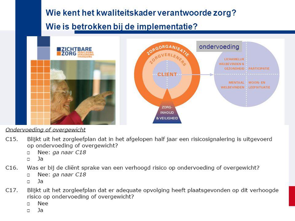 Wie kent het kwaliteitskader verantwoorde zorg? Wie is betrokken bij de implementatie? ondervoeding