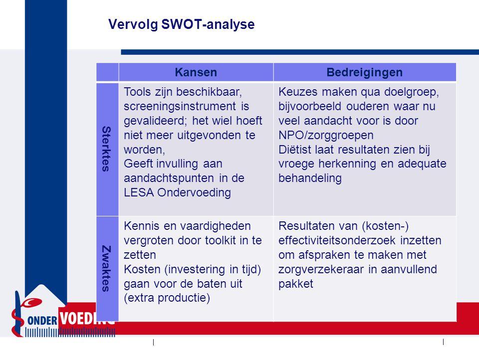 Vervolg SWOT-analyse KansenBedreigingen Sterktes Tools zijn beschikbaar, screeningsinstrument is gevalideerd; het wiel hoeft niet meer uitgevonden te