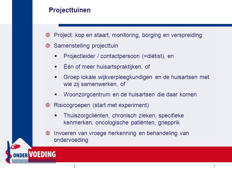 Projecttuinen  Project: kop en staart, monitoring, borging en verspreiding  Samenstelling projecttuin  Projectleider / contactpersoon (=diëtist), e