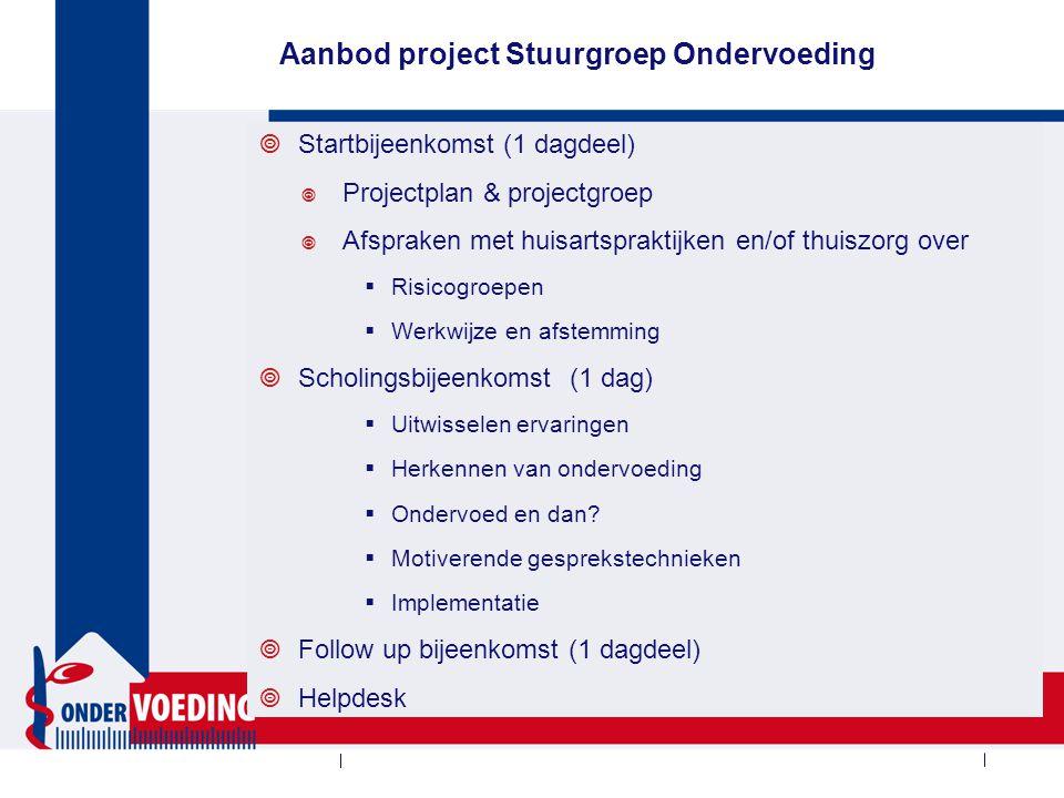 Aanbod project Stuurgroep Ondervoeding  Startbijeenkomst (1 dagdeel)  Projectplan & projectgroep  Afspraken met huisartspraktijken en/of thuiszorg