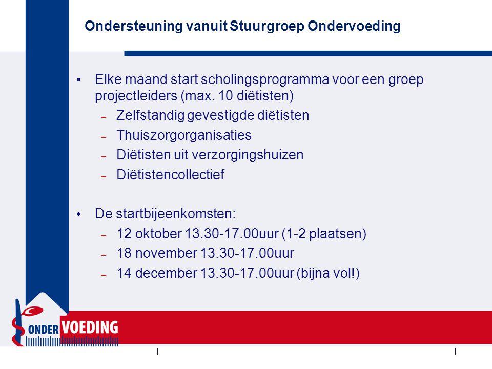 Ondersteuning vanuit Stuurgroep Ondervoeding Elke maand start scholingsprogramma voor een groep projectleiders (max. 10 diëtisten) – Zelfstandig geves