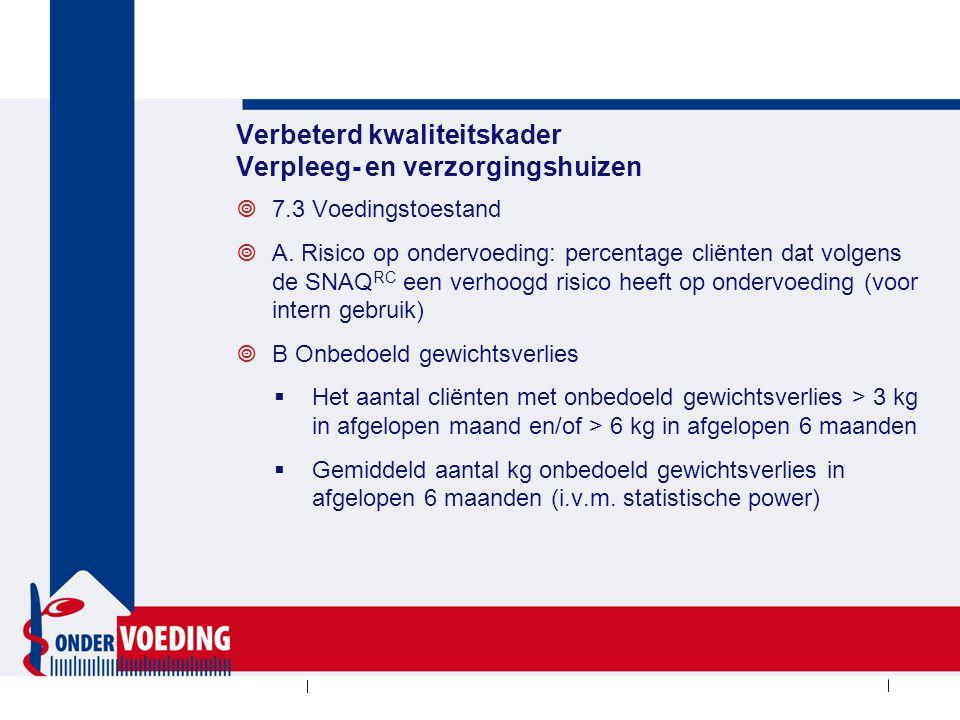 Verbeterd kwaliteitskader Verpleeg- en verzorgingshuizen  7.3 Voedingstoestand  A.