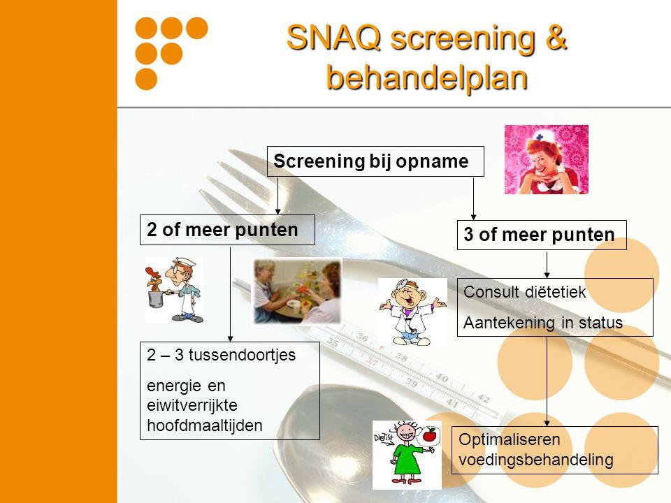 Screening bij opname 2 of meer punten 3 of meer punten 2 – 3 tussendoortjes energie en eiwitverrijkte hoofdmaaltijden Consult diëtetiek Aantekening in status Optimaliseren voedingsbehandeling SNAQ screening & behandelplan