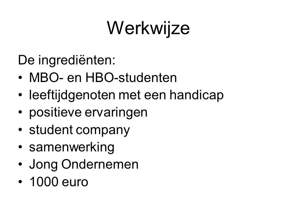 Werkwijze De ingrediënten: MBO- en HBO-studenten leeftijdgenoten met een handicap positieve ervaringen student company samenwerking Jong Ondernemen 1000 euro