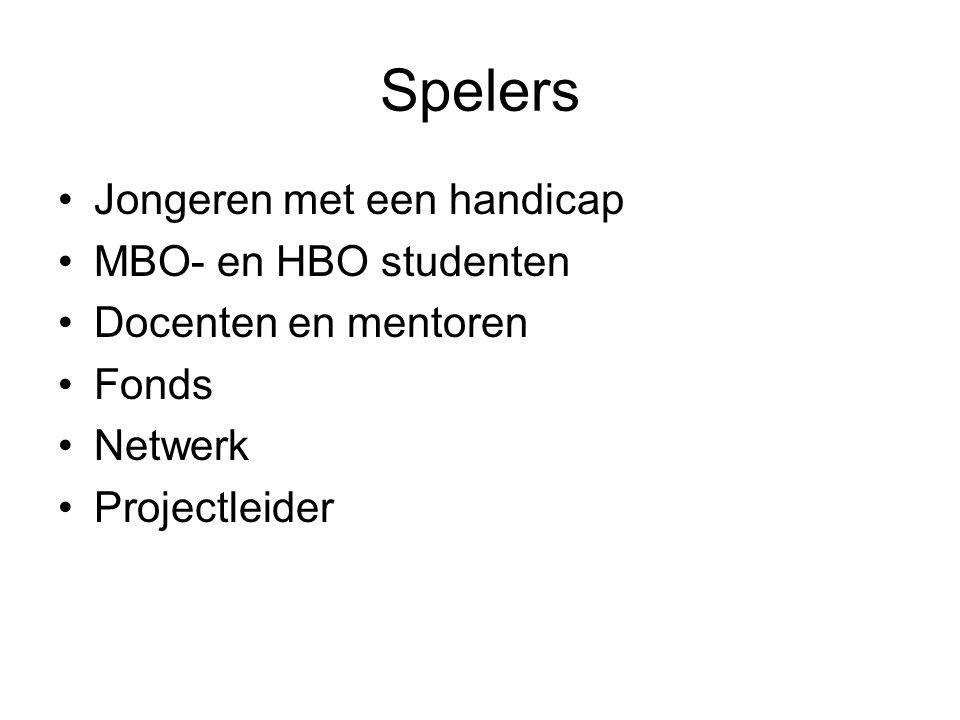 Spelers Jongeren met een handicap MBO- en HBO studenten Docenten en mentoren Fonds Netwerk Projectleider