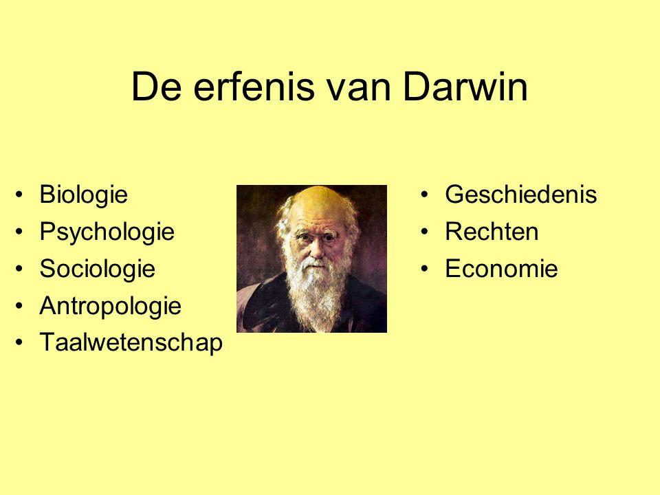 De erfenis van Darwin Biologie Psychologie Sociologie Antropologie Taalwetenschap Geschiedenis Rechten Economie