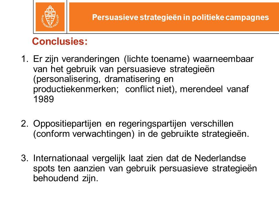 Conclusies: 1.Er zijn veranderingen (lichte toename) waarneembaar van het gebruik van persuasieve strategieën (personalisering, dramatisering en productiekenmerken; conflict niet), merendeel vanaf 1989 2.Oppositiepartijen en regeringspartijen verschillen (conform verwachtingen) in de gebruikte strategieën.