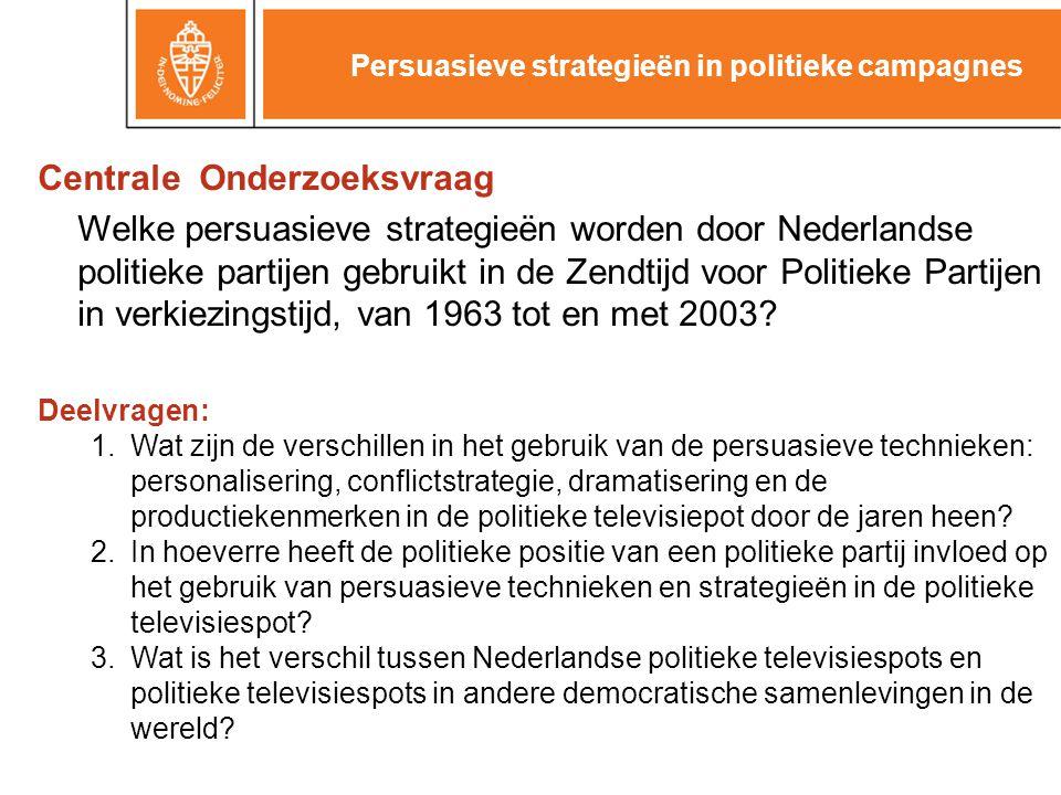 Centrale Onderzoeksvraag Welke persuasieve strategieën worden door Nederlandse politieke partijen gebruikt in de Zendtijd voor Politieke Partijen in verkiezingstijd, van 1963 tot en met 2003.