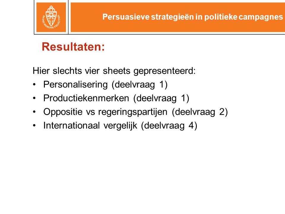 Resultaten: Hier slechts vier sheets gepresenteerd: Personalisering (deelvraag 1) Productiekenmerken (deelvraag 1) Oppositie vs regeringspartijen (deelvraag 2) Internationaal vergelijk (deelvraag 4) Persuasieve strategieën in politieke campagnes
