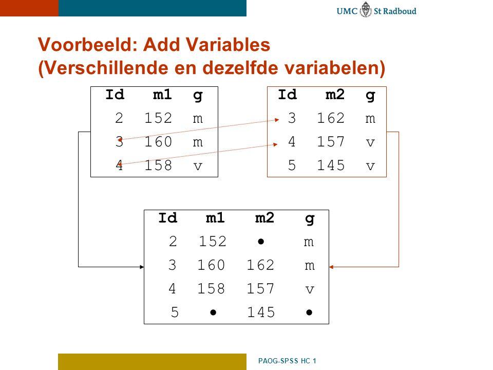 PAOG-SPSS HC 1 Voorbeeld: Add Variables (Verschillende en dezelfde variabelen) Id m1 g 2 152 m 3 160 m 4 158 v Id m2 g 3 162 m 4 157 v 5 145 v Id m1 m
