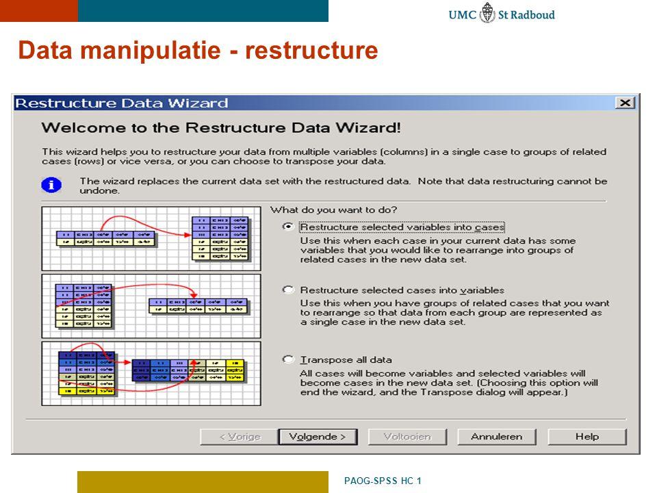 PAOG-SPSS HC 1 Data manipulatie - restructure