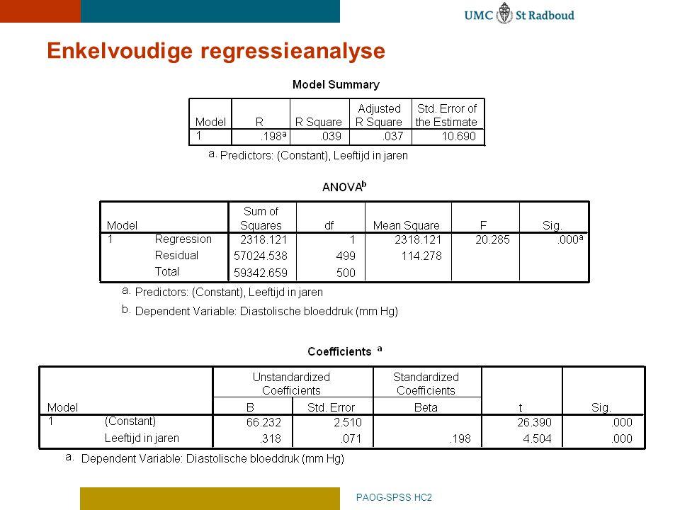 PAOG-SPSS HC2 Enkelvoudige regressieanalyse