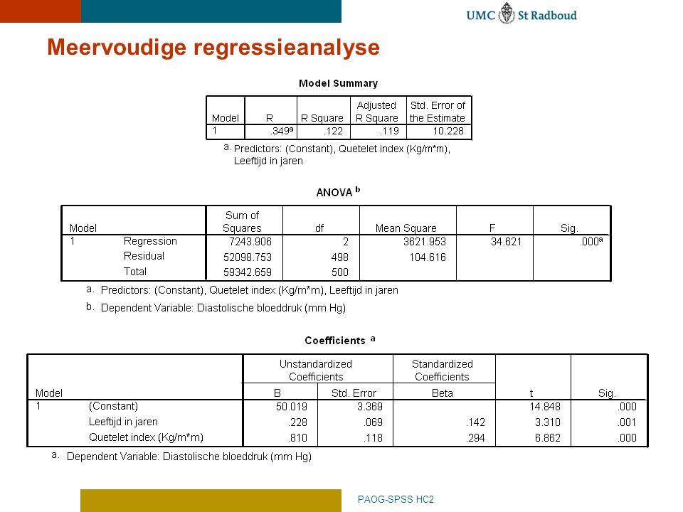 PAOG-SPSS HC2 Meervoudige regressieanalyse
