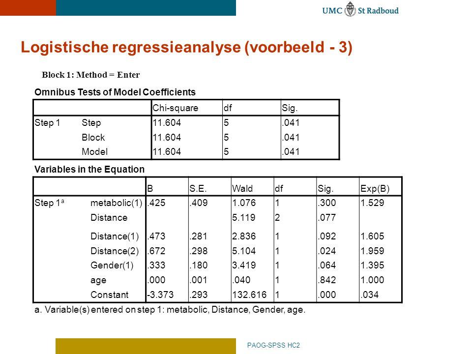 Logistische regressieanalyse (voorbeeld - 3) PAOG-SPSS HC2 Omnibus Tests of Model Coefficients Chi-squaredfSig.