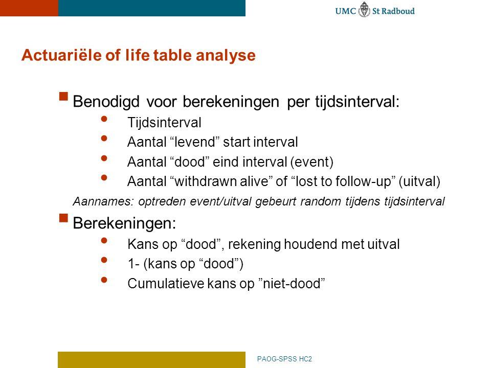 """PAOG-SPSS HC2 Actuariële of life table analyse  Benodigd voor berekeningen per tijdsinterval: Tijdsinterval Aantal """"levend"""" start interval Aantal """"do"""