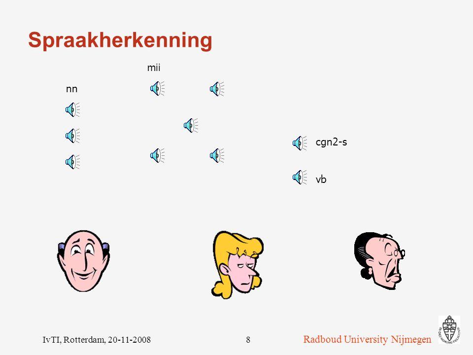 Radboud University Nijmegen IvTI, Rotterdam, 20-11-200818 Een les Dialoog: wat voorbeelden van uitingen.