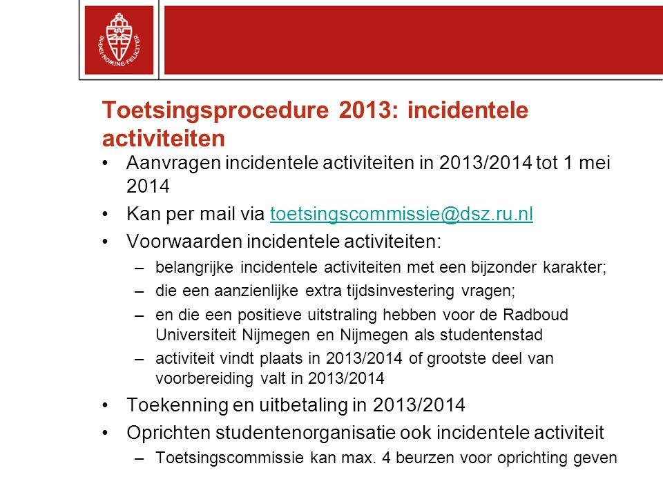Toetsingsprocedure 2013: incidentele activiteiten Aanvragen incidentele activiteiten in 2013/2014 tot 1 mei 2014 Kan per mail via toetsingscommissie@d