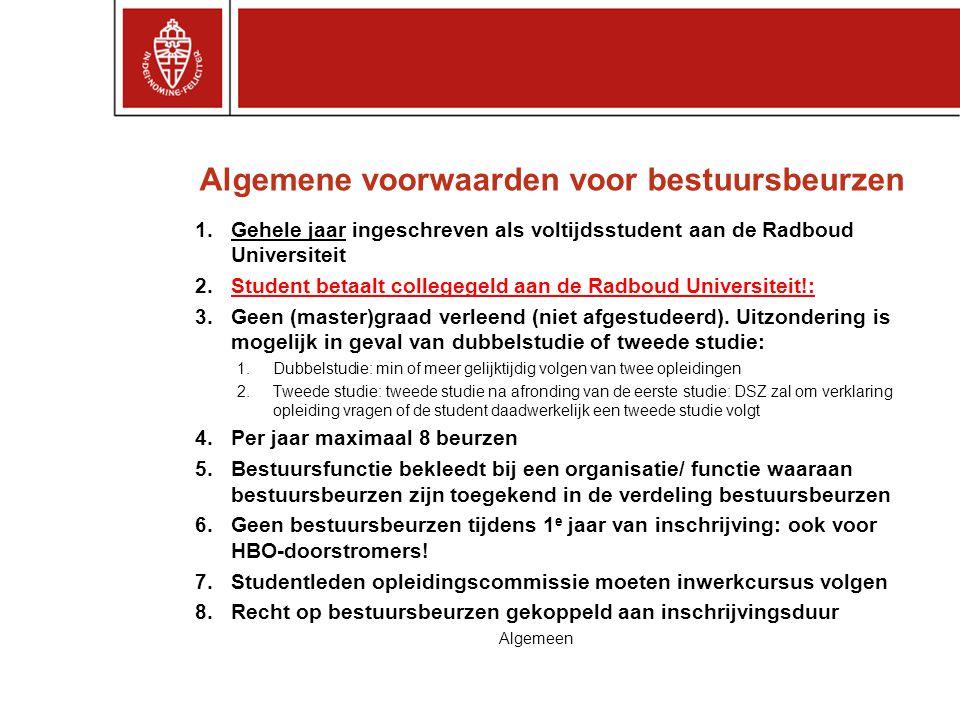 Algemene voorwaarden voor bestuursbeurzen 1.Gehele jaar ingeschreven als voltijdsstudent aan de Radboud Universiteit 2.Student betaalt collegegeld aan