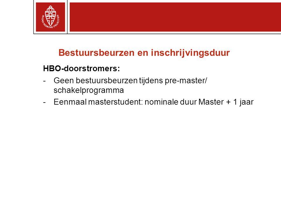 Bestuursbeurzen en inschrijvingsduur HBO-doorstromers: -Geen bestuursbeurzen tijdens pre-master/ schakelprogramma -Eenmaal masterstudent: nominale duu