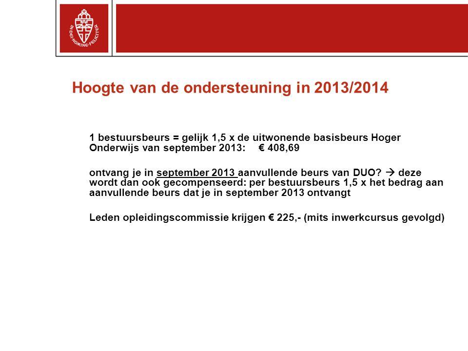 Hoogte van de ondersteuning in 2013/2014 1 bestuursbeurs = gelijk 1,5 x de uitwonende basisbeurs Hoger Onderwijs van september 2013: € 408,69 ontvang
