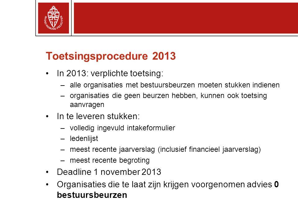 Toetsingsprocedure 2013 In 2013: verplichte toetsing: –alle organisaties met bestuursbeurzen moeten stukken indienen –organisaties die geen beurzen he