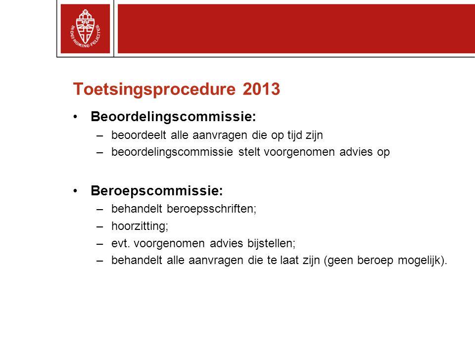 Toetsingsprocedure 2013 Beoordelingscommissie: –beoordeelt alle aanvragen die op tijd zijn –beoordelingscommissie stelt voorgenomen advies op Beroepsc