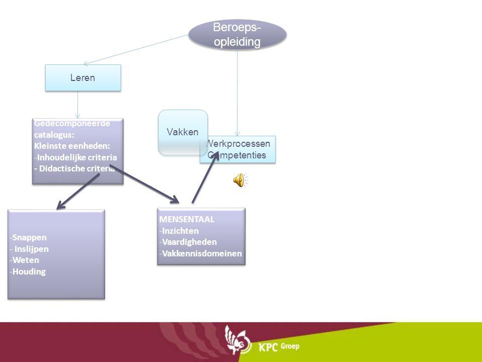 Beroeps- opleiding Werkprocessen Competenties Vakken Gedecomponeerde catalogus: Kleinste eenheden: -Inhoudelijke criteria - Didactische criteria Gedec